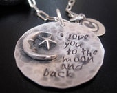 Rustic I love you to the moon and back handstamped moms charm necklace.  Sterling silver charm necklace