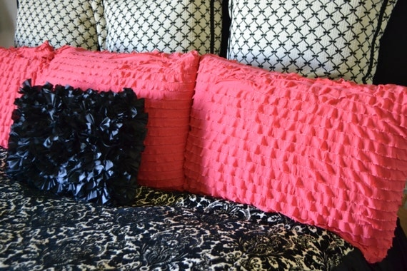 How To Make A Throw Pillow With Ruffle : Items similar to Ruffle Small Throw Pillow Sham, Coral Pink, or You pick the Color on Etsy