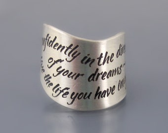 Etched Sterling Silver Thoreau Ring - Inspirational Quote Ring - Go confidently in the direction of your dreams