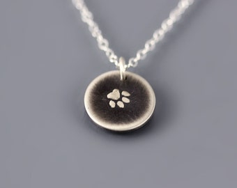 Tiny Paw Print Necklace, sterling silver paw print jewelry, pet memorial necklace