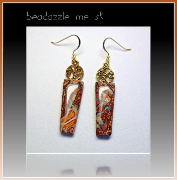 Mokume Gane Earrings: Mokume Gane Autumn Earrings Polymer Clay Jewelry