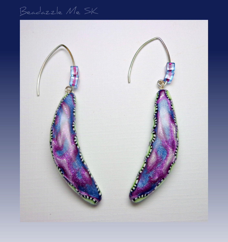 Mokume Gane Earrings: Mokume Gane Exotic Dangle Earrings Handmade Polymer Clay
