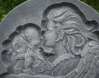 Child Memorial, Baby with Guardian Angel Statue - Garden Art