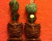 Tiki earrings, brown, brown tiki, tiki culture, hawaii, tiki, polynesian, tiki wedding, ocean, pin up, tropical, beach wedding, turquoise