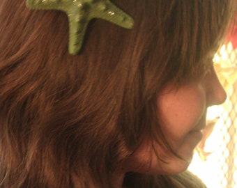 Starfish, Green, green, ocean, Beach wedding, tropical wedding, bridal, starfish barrette, starfish hair clip, fish, ocean clip