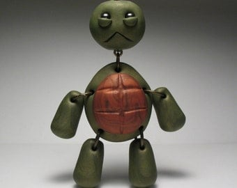 Turtle Necklace - Polymer Clay Jewelry - Wearable Art Doll