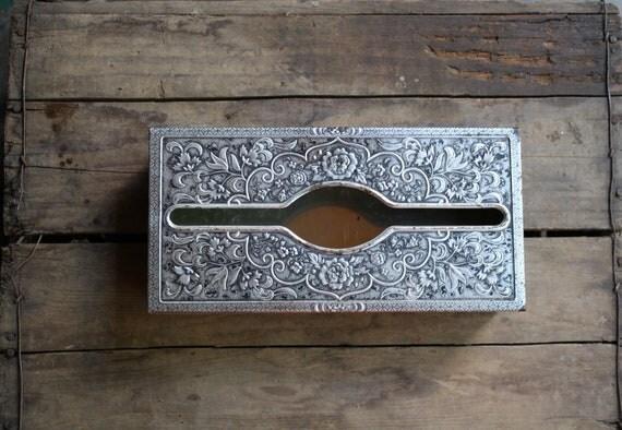 vintage tin tissue box