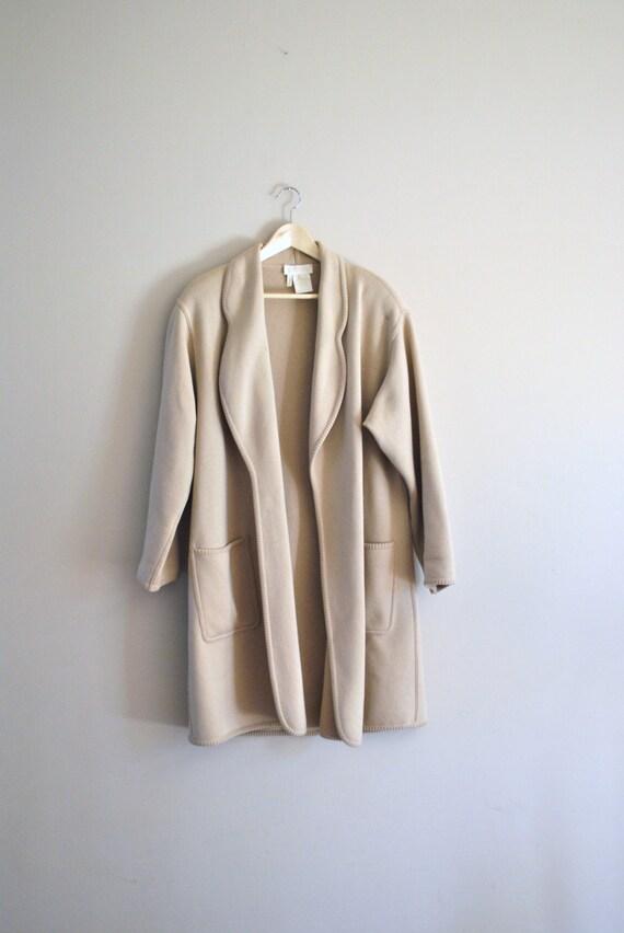 80s escada cardigan // white sand wool cahsmere blend // vintage 1980s long cardigan