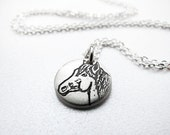Tiny horse necklace, silver pendant equine jewelry