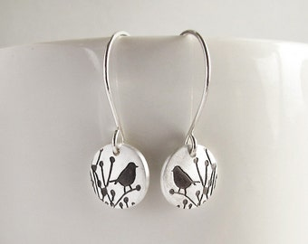 Tiny little bird earrings, silver drop earrings