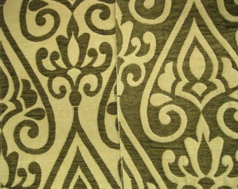 Reversible Fairbanks Green Scroll Brocade DESIGNER FABRIC SAMPLE Highland Court