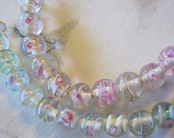 Lampwork Round Pastel Pink and Green Glass Beads