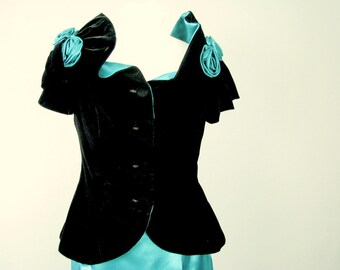 Vintage 1980's Two Piece Turquoise Prom Dress, Extra Long Formal, Modern Size 8, Small