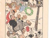Wonderful Old Christmas Card - Jiggs and Maggie - Bringing Up Father - Dated 1930 Original Drawing