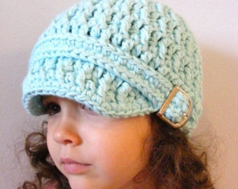 Girls Hat 4T Toddler to Preteen Toddler Girl Hat Aqua Blue Toddler Hat Aqua Toddler Hat Blue Girls Hat Aqua Girls Hat Cotton Hat Buckle