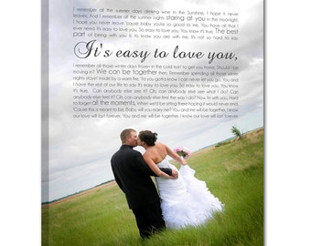 Personalized Couple Gift Wedding CANVAS Art with custom photo using your song lyrics, wedding vows, first dance song 18X24