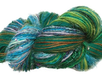 Scraplet Skeins unique multi-textured hand-tied art yarn in Summer (blues, aquas, greens) from the 4 Seasons collection- 120 yds.