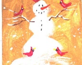 ACEO  Snowman and Cardinals  Christmas  print by Jim Smeltz