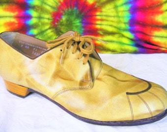 9.5-10 vintage 50's-60's tan leather lace-up oxfords BAREFOOT FREEDOM granny shoes NOS