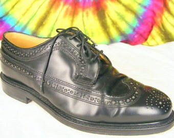 Size 8.5 mens vintage black leather SAXONE BENCHGRADE wing-tip longwing oxfords shoes