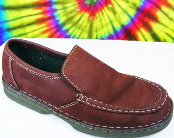 7 M vintage 90's maroon nubuck leather Bass loafers shoes