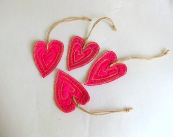 Heart ornament pink hand embroidered Valentines Christmas