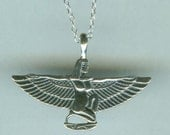 WINGED ISIS - Sterling Pendant AND Chain - Fertility and Motherhood