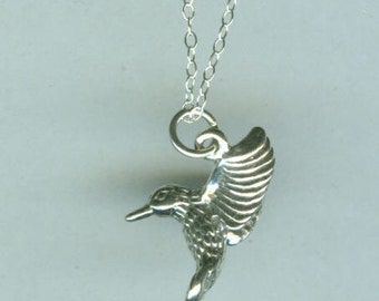Sterling HUMMINGBIRD Charm- Bird- 3D - Awesome Detail