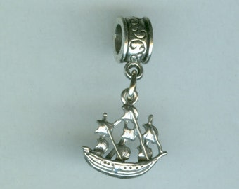 Sterling NORWEGIAN SHIP Bead Charm for All Name Brand Add a Bead Charm Bracelets