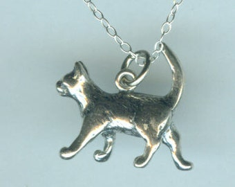 Sterling CAT Pendant and Chain - Pet - 3D