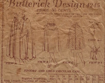 1910s or 1920s Vintage Sewing Pattern Butterick 4245 Girls Circular Cape Size 4 Years Breast 23 20s Antique INCOMPLETE