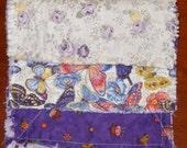 Three Purple rag quilt burp cloths