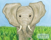 Elephant African Savanna Safari Zoo Animals Kids Girls or Boys Nursery Art Stretched Canvas 11x14