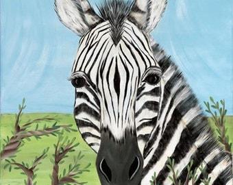Zebra African Savanna Safari Zoo Animals Kids Girls or Boys Nursery Stretched Canvas Art