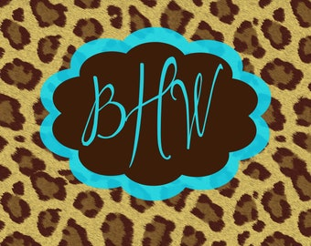 Personalized Monogram Girls Blue Brown Cheetah Print 11x14 Stretched Canvas