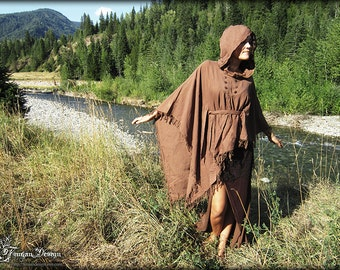 FRINGY BOHO PONCHO - Bohemian Hippie Burning man Dress Fairy Pixie Hoodie Ethnic Lagenlook Mori Gypsy Witch Goddess Plus size - Brown