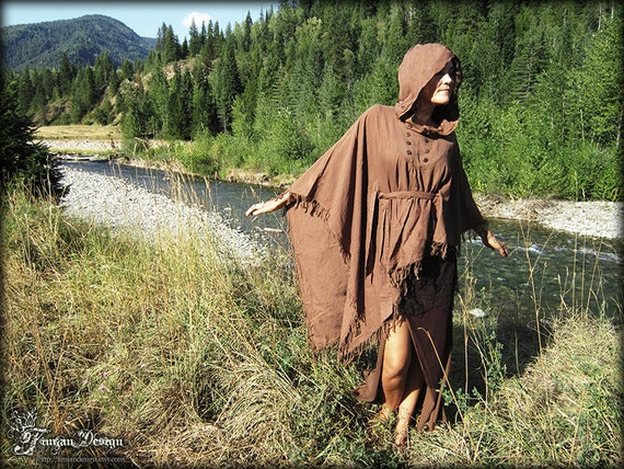 FRINGY BOHO PONCHO - Bohemian Hippie Burning man Dress Fairy Pixie Hoodie Ethnic Lagenlook Mori Gypsy Witch Goddess Plus size - Brown