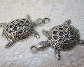 1 Antique Silver Plated Pewter Sea Turtle Pendant Charm 40mm LAST ONE