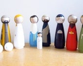 SALE Nativity Set - 7 inch Extra Large Wooden Dolls - great gift for Christmas Nativity Scene