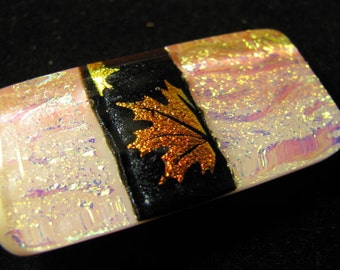 Pale Pink and Autumn Motif Dichroic Pendant