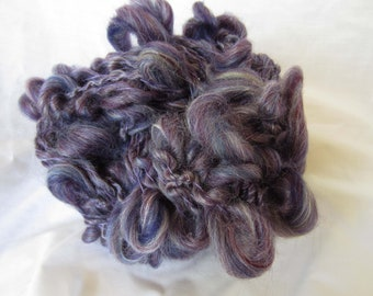 Purple Multi Colors Handspun Super Coiled singles yarn  43 yards