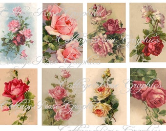 Large digital download  collage Catherine Klein Roses ATC ACEO gift tags ECS buy 3 get one free