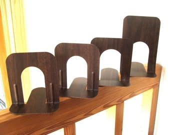 4 Faux Bois Vintage Metal Bookends