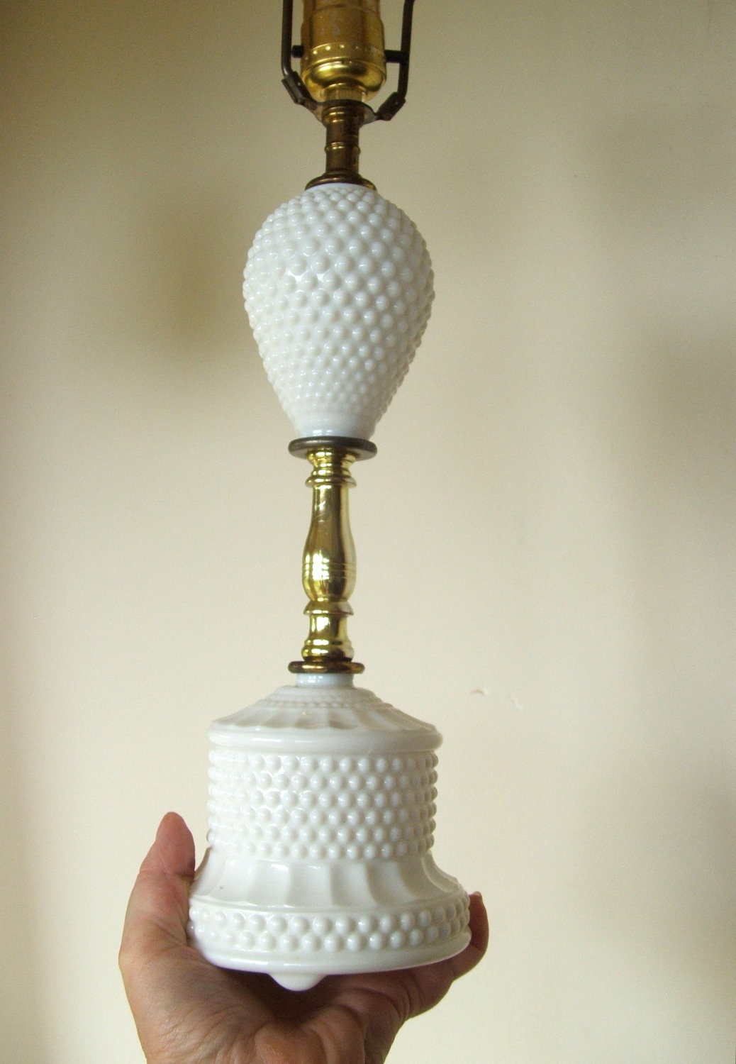 Vintage Hobnail Milk Glass Lamp By Lookonmytreasures On Etsy