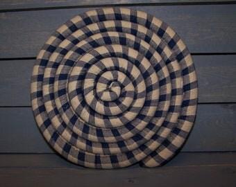 Large Scented Coaster ET---Trivet---- Blue Homespun