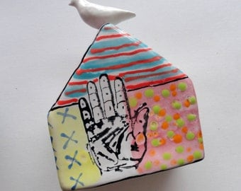 Ceramic wall sculpture Dove House Fortune Hand