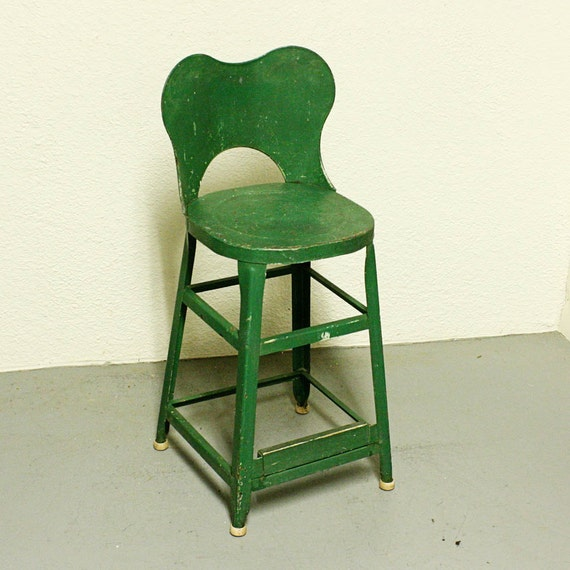 Green Kitchen Stools: Vintage Stool Metal Kitchen Stool Seat Industrial
