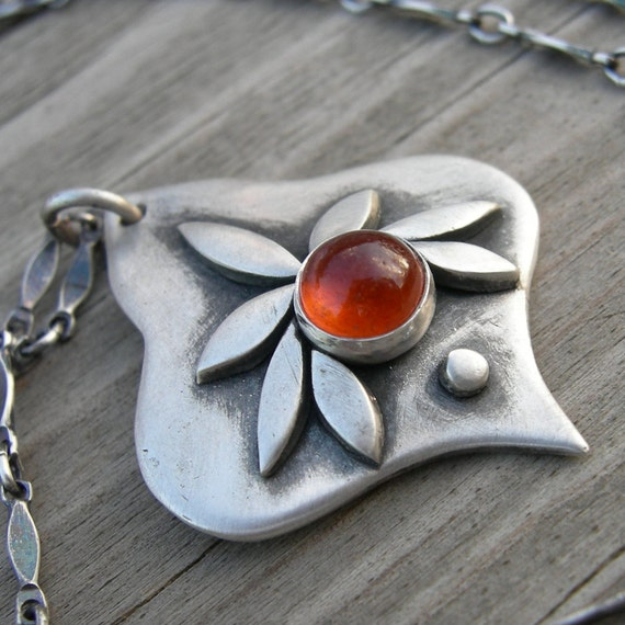 Damona Healing Goddess Sterling Silver Hessonite Garnet Pendant PMC Artisan Jewelry Westbyron