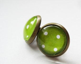 Polka Dot Antique Brass Stud Earrings - Post Earrings