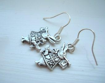 White Rabbit Alice in Wonderland Silver Plated Earrings